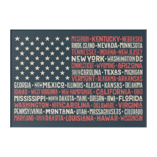 United States Of America |States & Capitals Acrylic Print