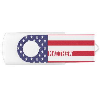 United States Of America USA Flag Personalized USB Flash Drive