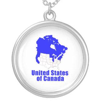 United States of Canada Round Pendant Necklace