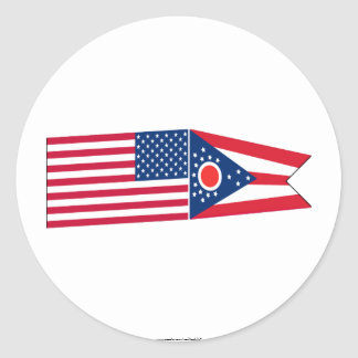 United States & Ohio Flags Classic Round Sticker
