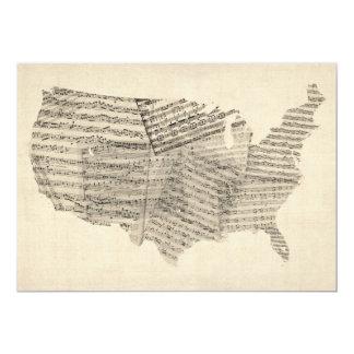 United States Old Sheet Music Map 13 Cm X 18 Cm Invitation Card