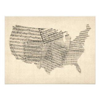United States Old Sheet Music Map Photograph