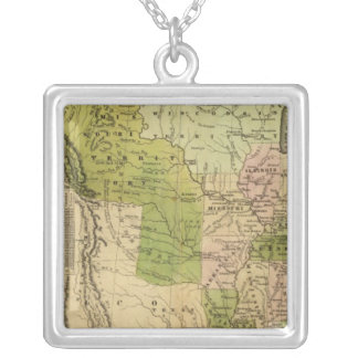 United States Olney Map Silver Plated Necklace