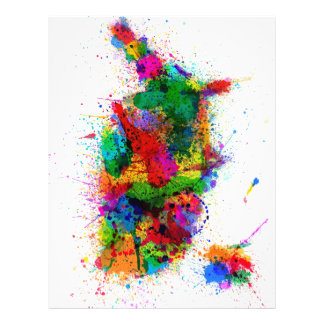 United States Paint Splashes Map 21.5 Cm X 28 Cm Flyer