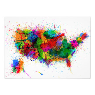United States Paint Splashes Map Personalized Invite