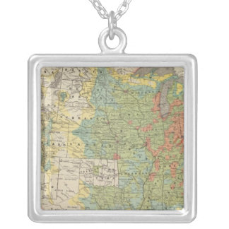 United States Population Density, 1890 Silver Plated Necklace