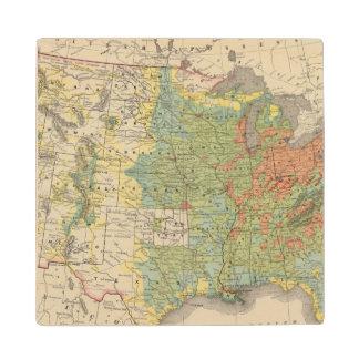 United States Population Density, 1890 Wood Coaster