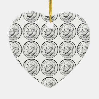 United States Roosevelt Dime Ceramic Heart Decoration