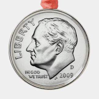 United States Roosevelt Dime Christmas Ornament
