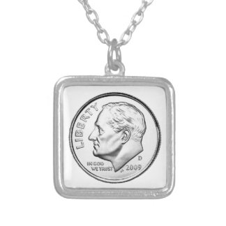 United States Roosevelt Dime Silver Plated Necklace