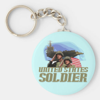 United States Soldier Tshirts and Gifts Basic Round Button Key Ring