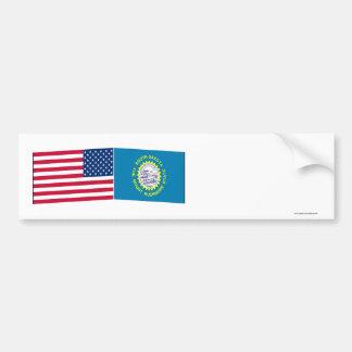 United States & South Dakota Flags Bumper Sticker
