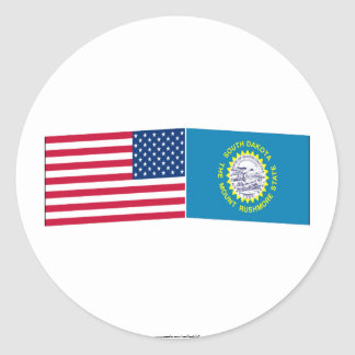 United States & South Dakota Flags Round Sticker