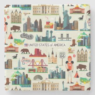 United States Symbols Pattern Stone Coaster