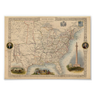 United States Tallis J F 1851 Reproduction Poster
