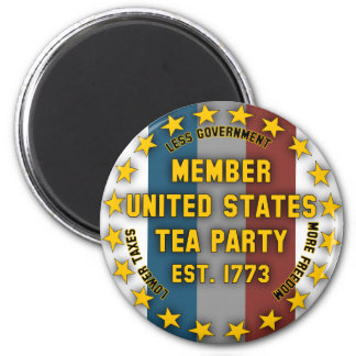 United States Tea Party 6 Cm Round Magnet
