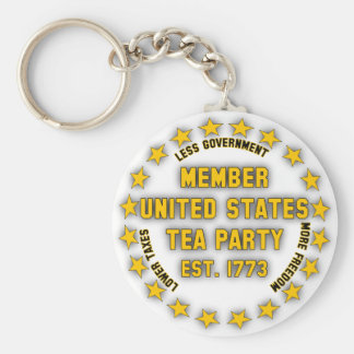 United States Tea Party Basic Round Button Key Ring