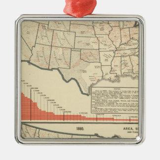 United States Thematic maps Silver-Colored Square Decoration