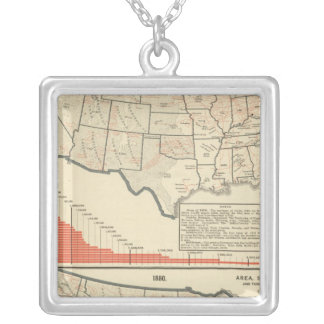 United States Thematic maps Silver Plated Necklace