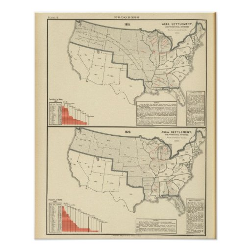 United States Two color lithographed maps Print