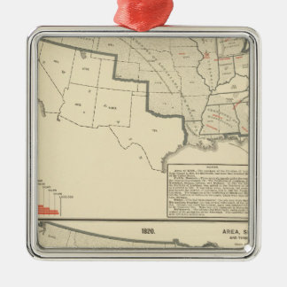 United States Two color lithographed maps Silver-Colored Square Decoration