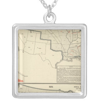 United States Two color lithographed maps Silver Plated Necklace