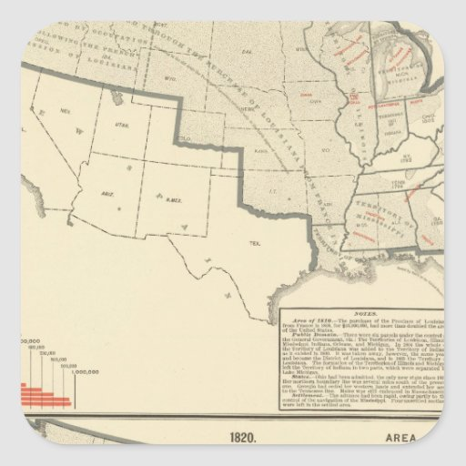 United States Two color lithographed maps Square Sticker