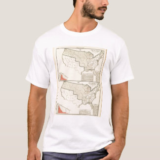 United States Two color lithographed maps T-Shirt