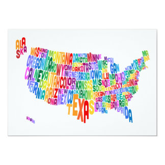 United States Typography Text Map 13 Cm X 18 Cm Invitation Card