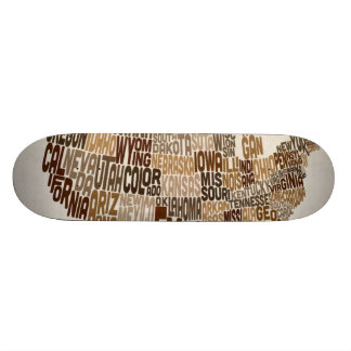 United States Typography Text Map 18.1 Cm Old School Skateboard Deck