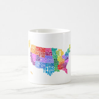 United States Typography Text Map Coffee Mug