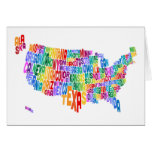 United States Typography Text Map Greeting Card