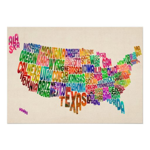 United States Typography Text Map Personalised Announcement