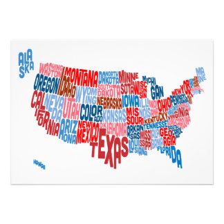 United States Typography Text Map Personalised Announcements
