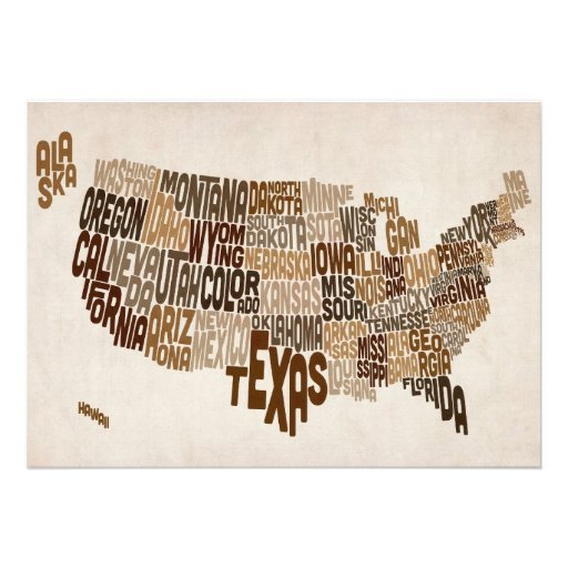 United States Typography Text Map Invites
