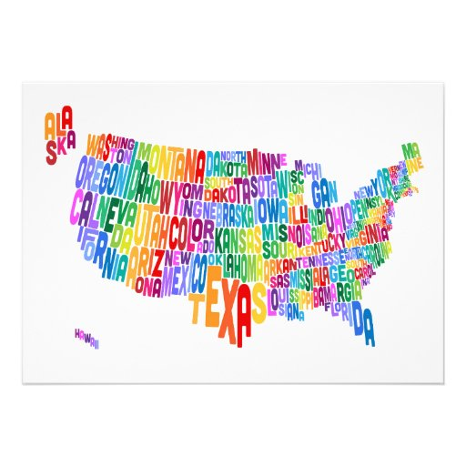 United States Typography Text Map Personalised Invites