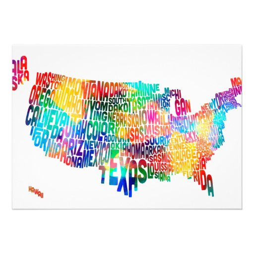 United States Typography Text Map Announcement
