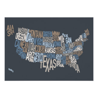 United States Typography Text Map Custom Announcements