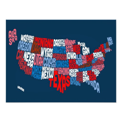 United States Typography Text Map Photo