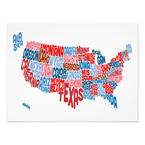 United States Typography Text Map Photo Art
