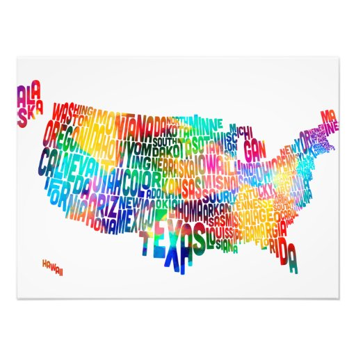 United States Typography Text Map Art Photo