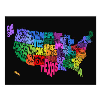 United States Typography Text Map Photograph