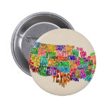 United States Typography Text Map Pinback Buttons