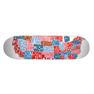 United States Typography Text Map Skateboard Deck