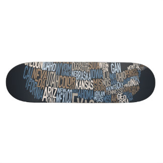 United States Typography Text Map Skateboard Decks