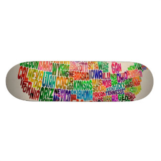 United States Typography Text Map Skate Deck