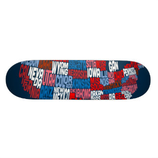 United States Typography Text Map Skate Decks