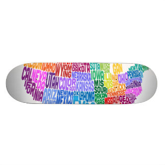 United States Typography Text Map Skateboards