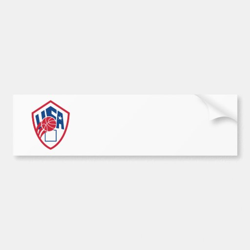 United States USA American Basketball Ball Shield Bumper Stickers