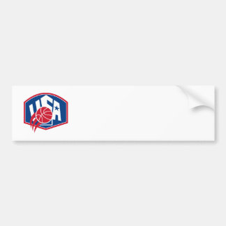 United States USA American Basketball Ball Shield Bumper Sticker